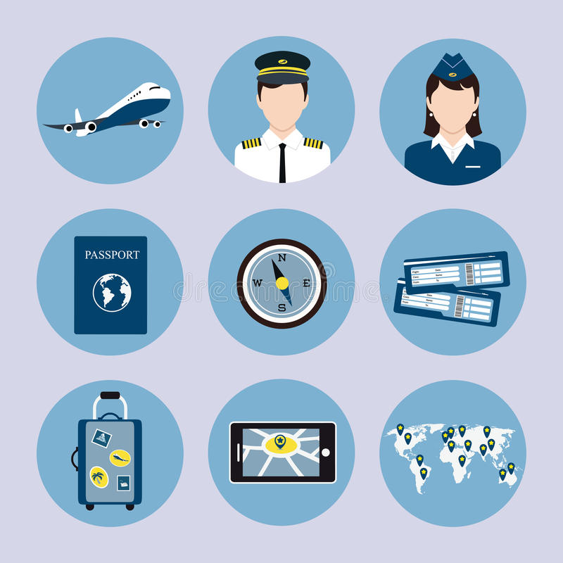 Iconos de la línea aérea fijados ilustración del vector