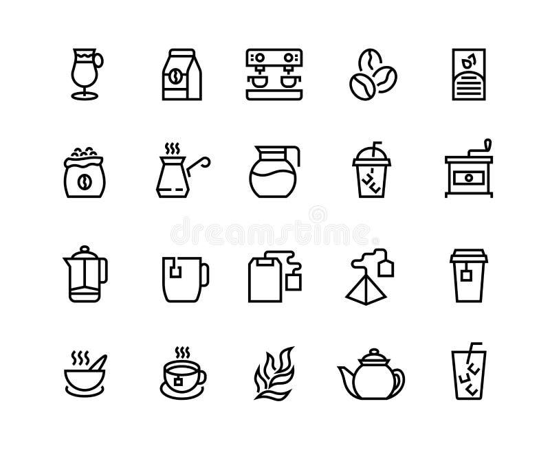 Iconos de la línea de café y té Tazas, tazas y tazas de café de café de café de lata y cappuccino Café vectorial ilustración del vector