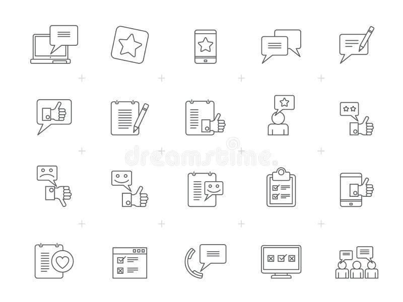 Iconos de la línea cliente, de la gestión y de la reacción stock de ilustración