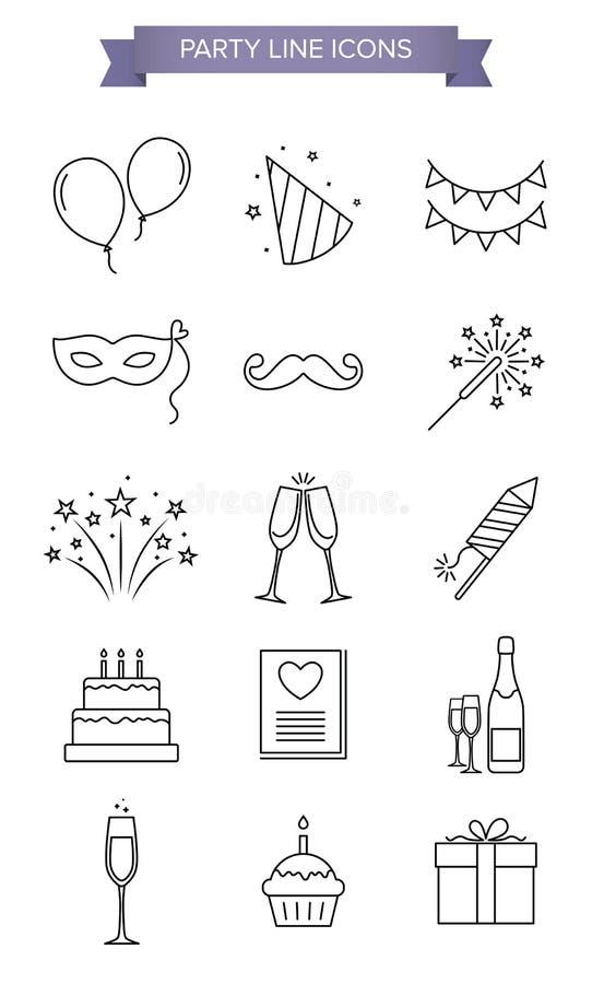 Iconos de la línea del partido foto de archivo libre de regalías