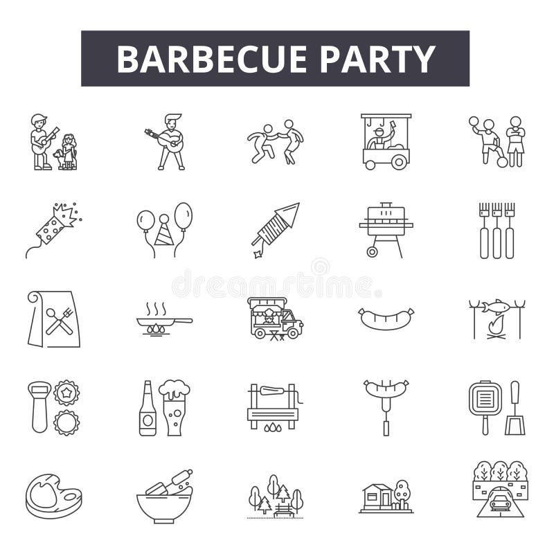 Iconos de la línea del partido de la barbacoa, muestras, sistema del vector, concepto del ejemplo del esquema ilustración del vector