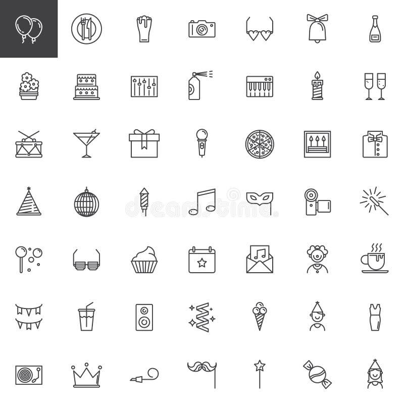 Iconos de la línea del partido fijados stock de ilustración