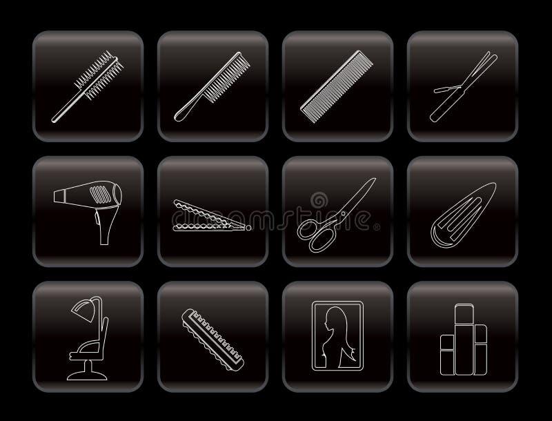 Iconos de la línea peluquería, del tocado y del maquillaje ilustración del vector