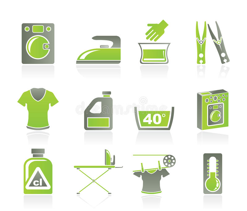 Iconos de la lavadora y del lavadero stock de ilustración
