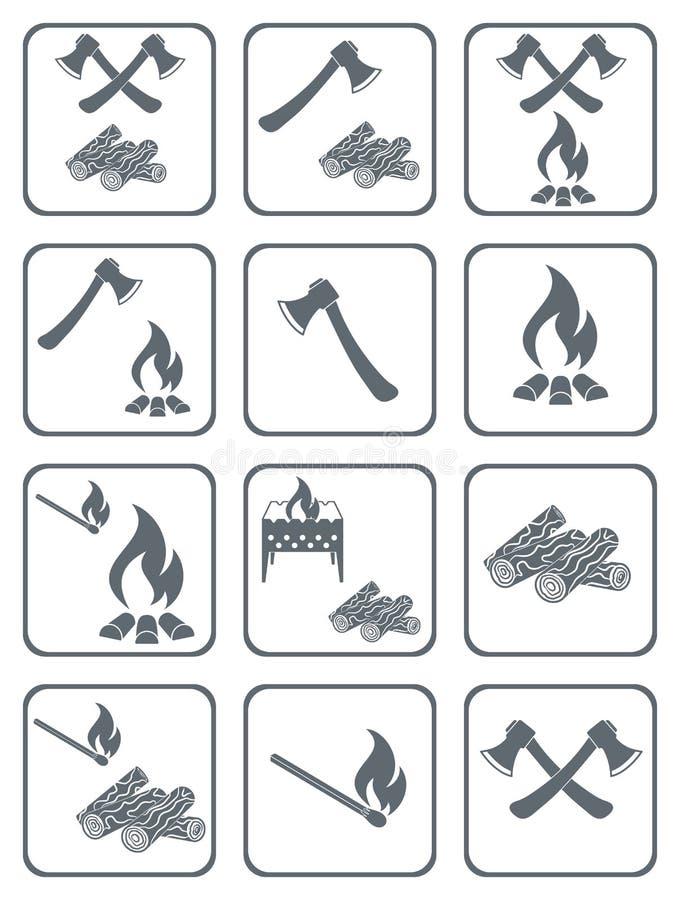 Iconos de la leña, del hacha y de los partidos ilustración del vector