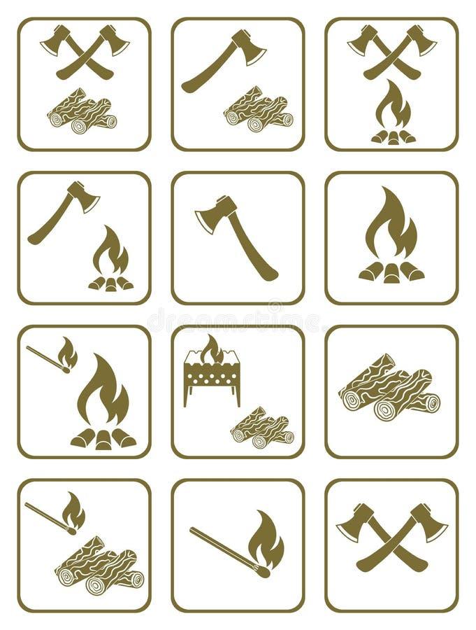 Iconos de la leña, del hacha y de los partidos libre illustration