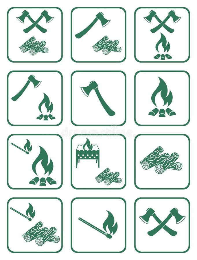 Iconos de la leña, del hacha y de los partidos stock de ilustración