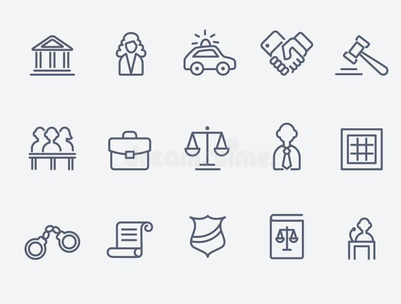 Iconos de la ley stock de ilustración