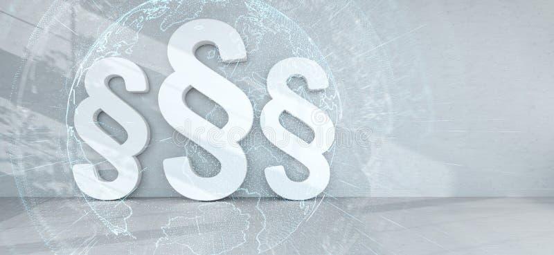 Iconos de la ley en interior con la representación de las conexiones 3D stock de ilustración