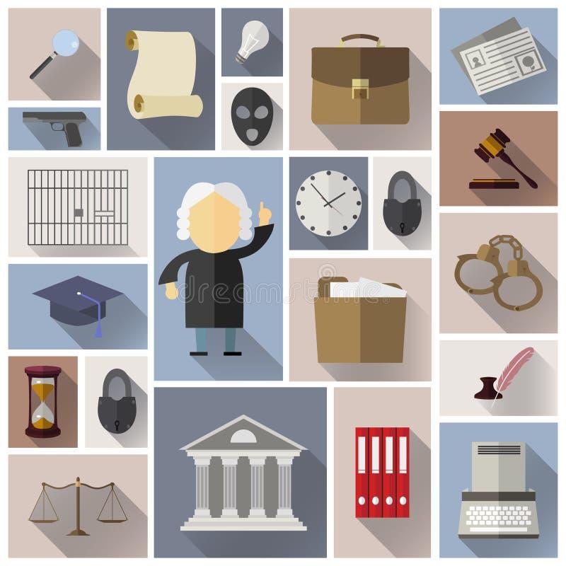 Iconos de la ley, legales y de la justicia en estilo plano con la sombra larga fotografía de archivo libre de regalías