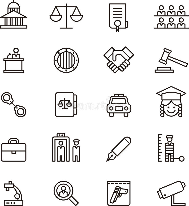 Iconos de la ley y de la justicia libre illustration