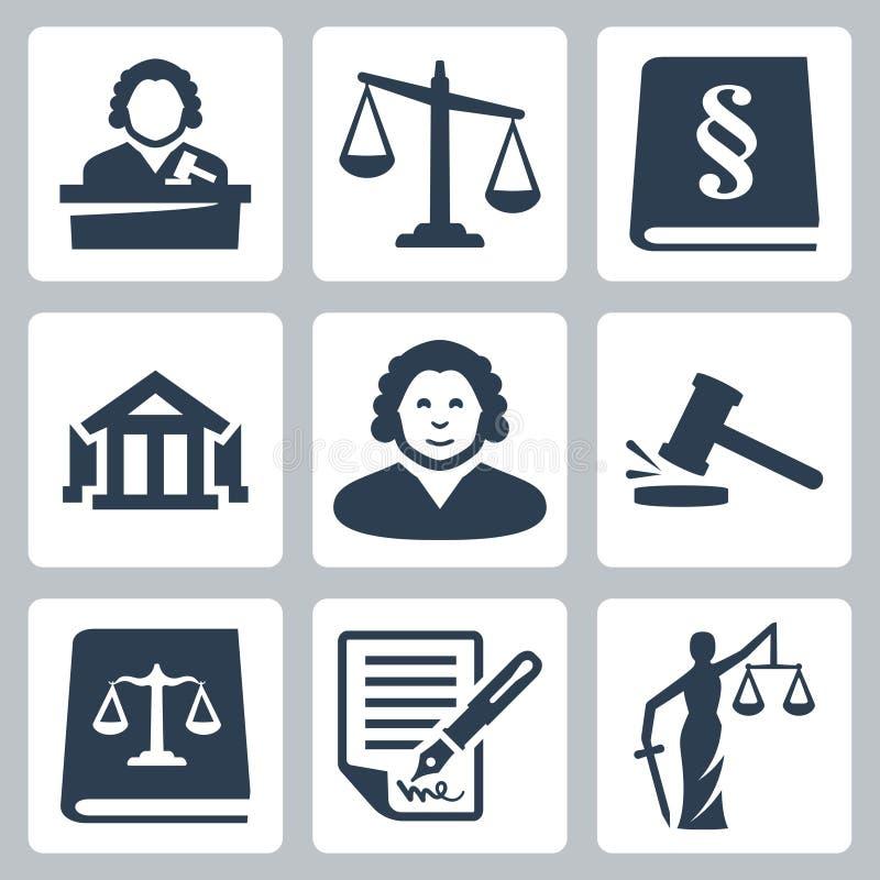 Iconos de la ley y de la justicia del vector fijados stock de ilustración