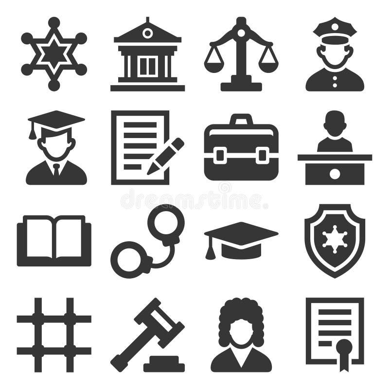 Iconos de la ley y de la justicia fijados en el fondo blanco Vector stock de ilustración