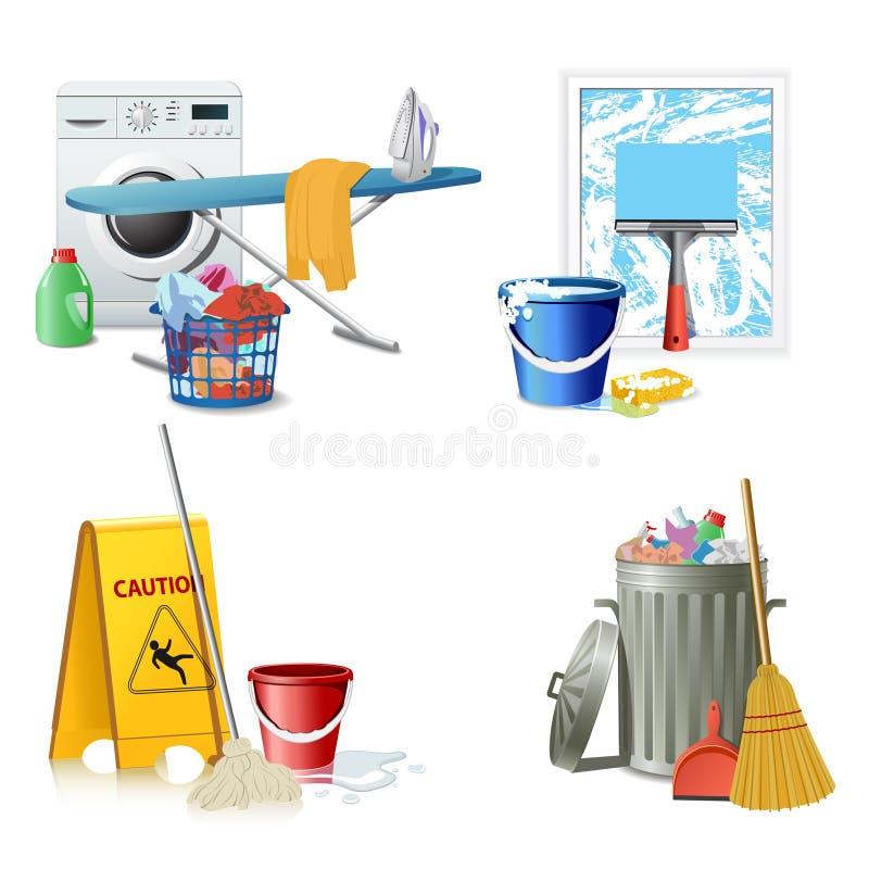 Iconos de la limpieza stock de ilustración