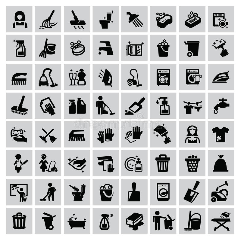 Iconos de la limpieza libre illustration