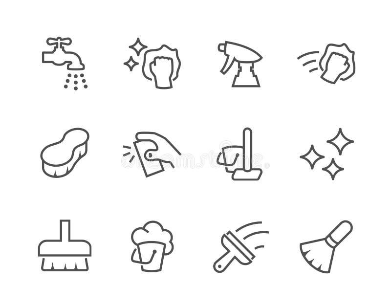 Iconos de la limpieza del esquema ilustración del vector