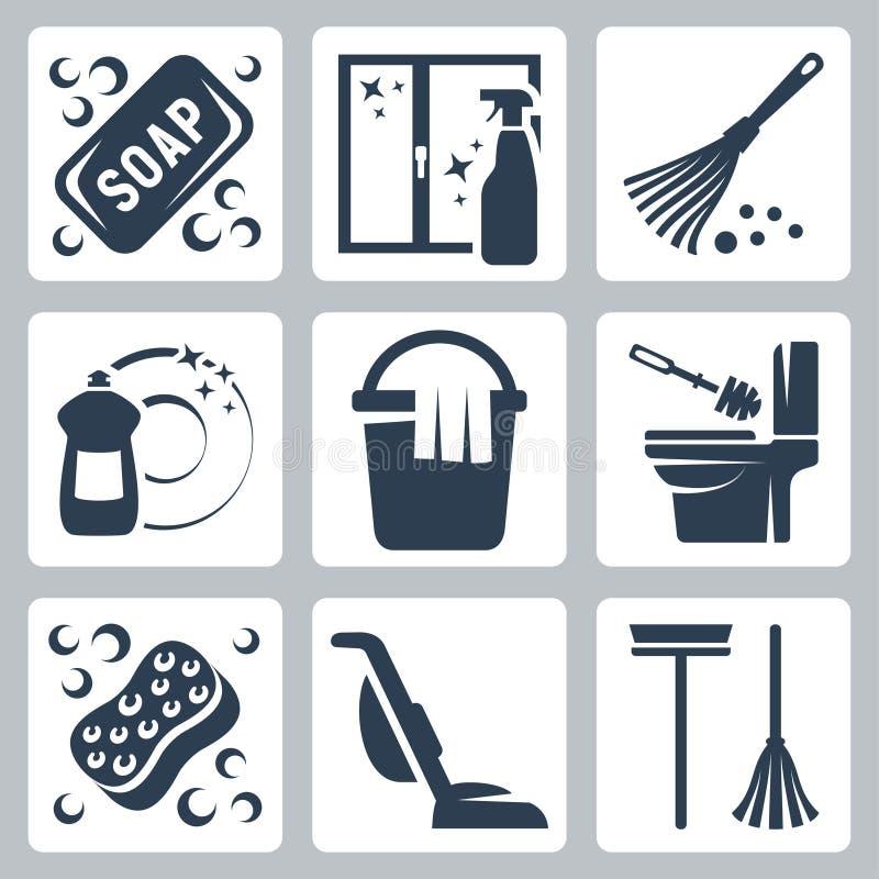Iconos de la limpieza del vector fijados