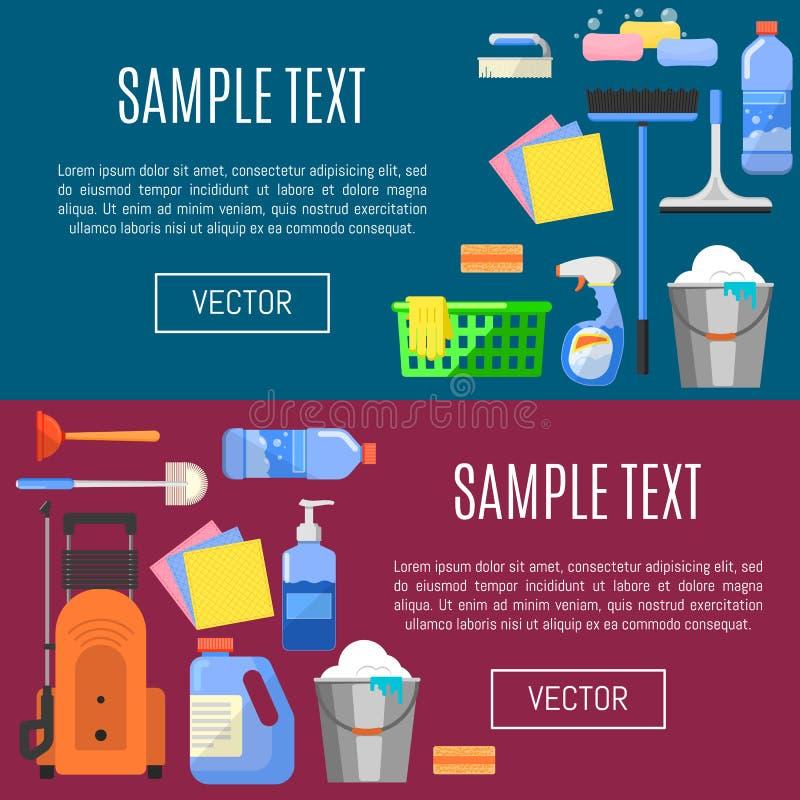 Iconos de la limpieza en el ejemplo del vector de la bandera stock de ilustración