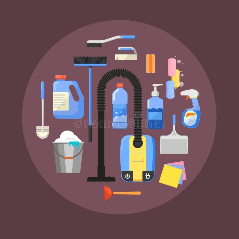 Iconos de la limpieza en el ejemplo del vector de la bandera libre illustration