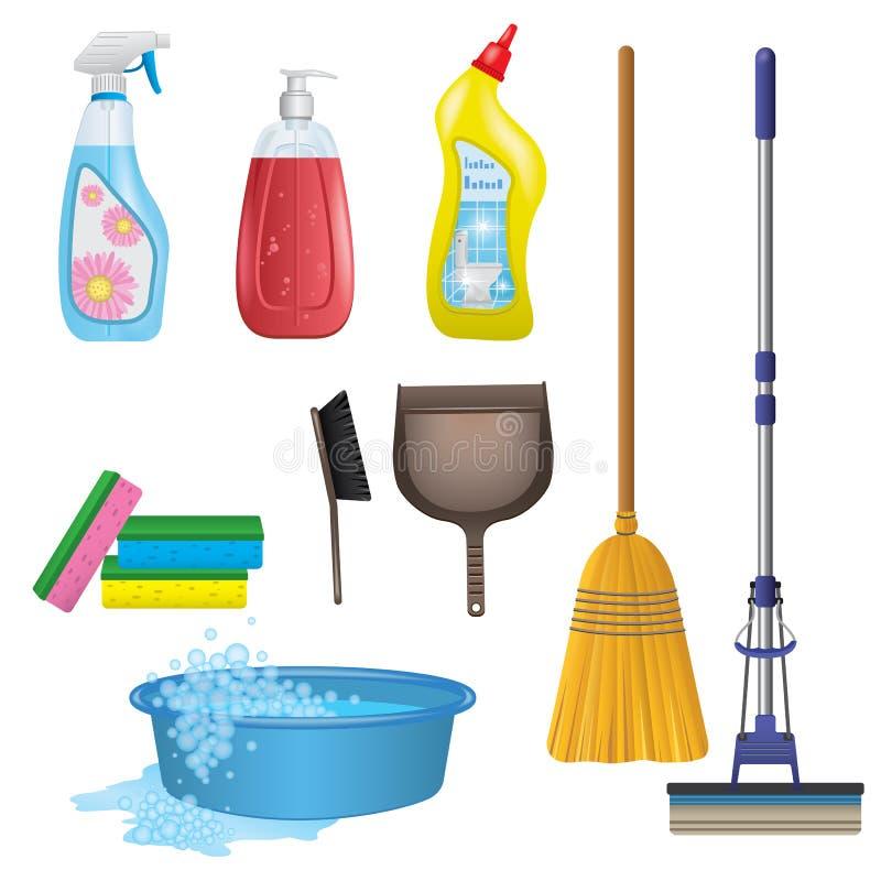 Iconos de la limpieza fijados libre illustration