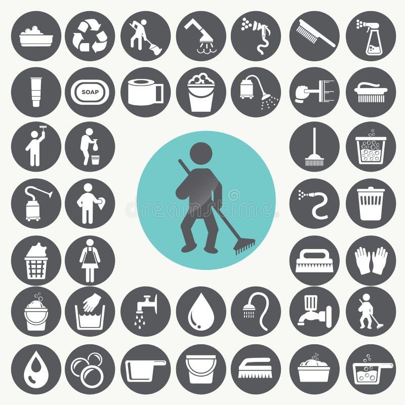 iconos de la limpieza fijados stock de ilustración