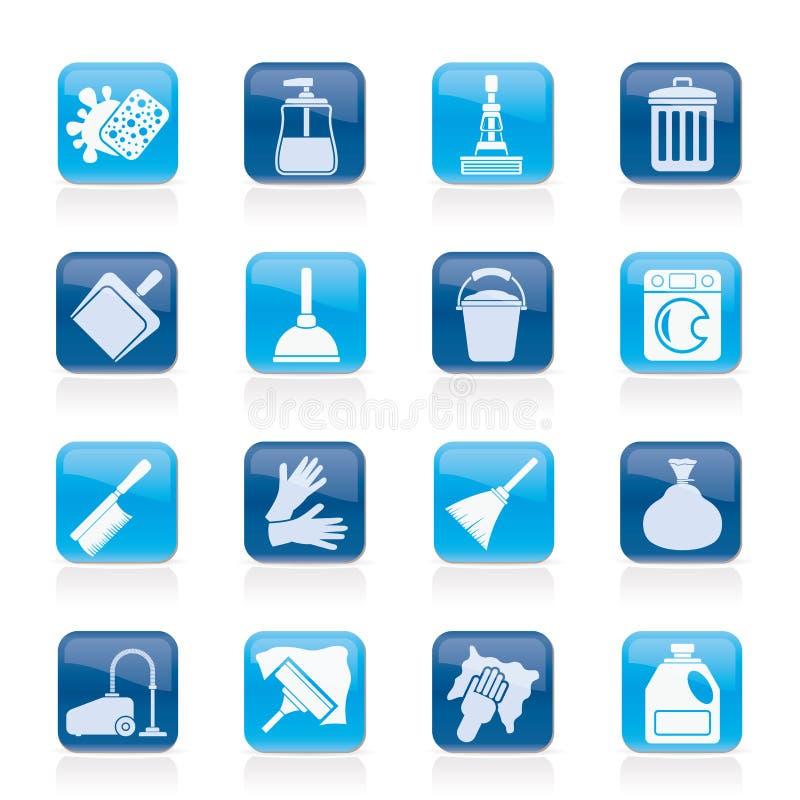 Iconos de la limpieza y de la higiene ilustración del vector