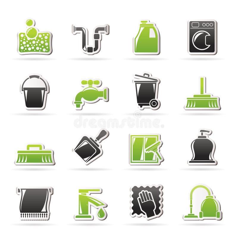 Iconos de la limpieza y de la higiene stock de ilustración