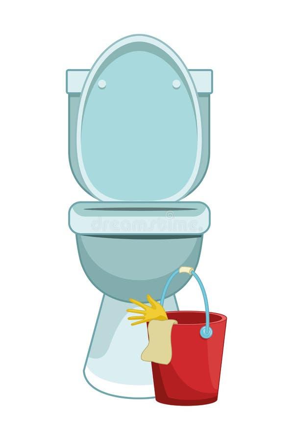 Iconos de la limpieza y del equipo de la higiene ilustración del vector