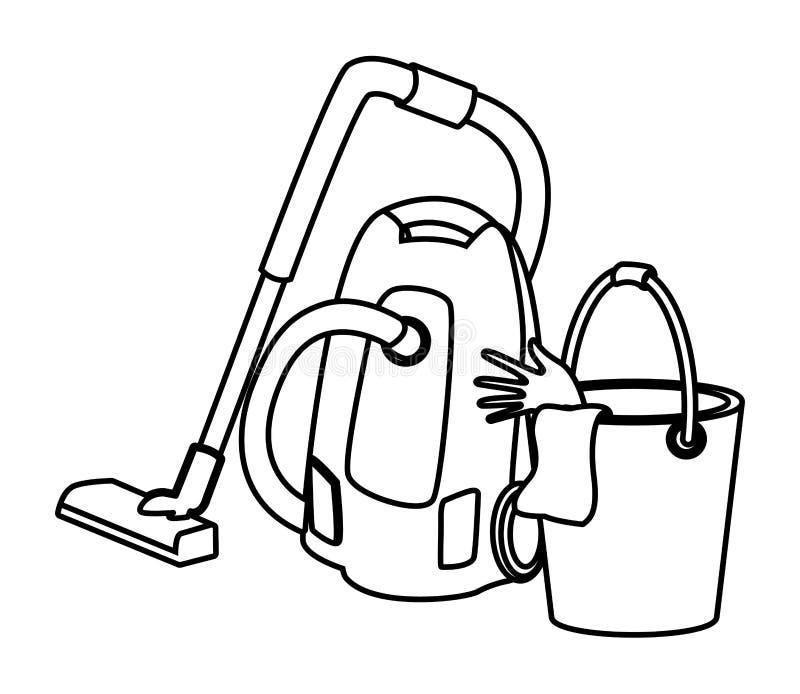 Iconos de la limpieza y del equipo de la higiene en blanco y negro stock de ilustración