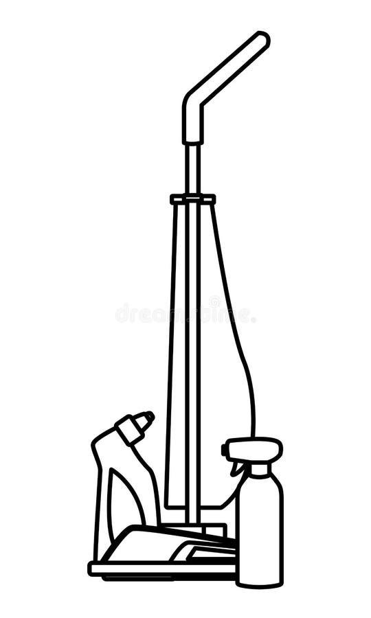 Iconos de la limpieza y del equipo de la higiene en blanco y negro ilustración del vector