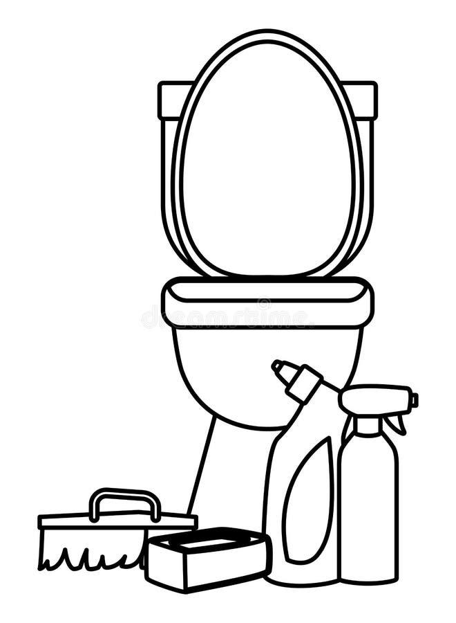 Iconos de la limpieza y del equipo de la higiene en blanco y negro libre illustration