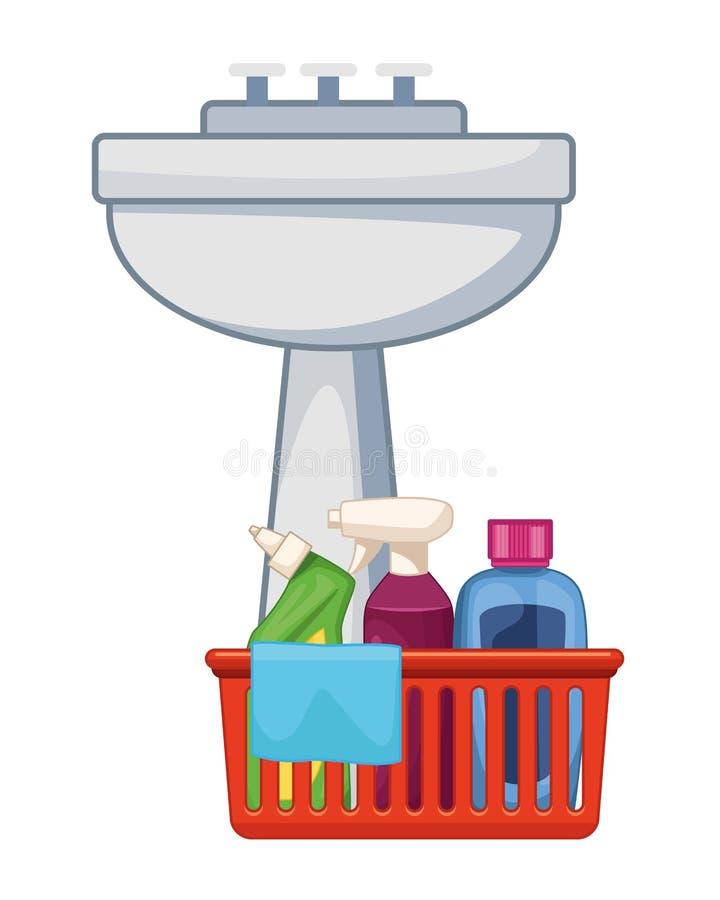 Iconos de la limpieza y del equipo de la higiene stock de ilustración