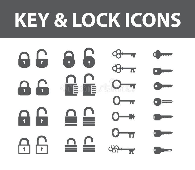 Iconos de la llave y de la cerradura fotos de archivo