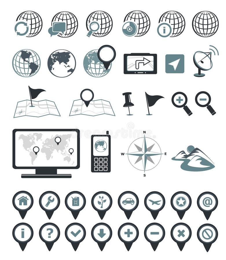 Iconos de la localización y de la destinación ilustración del vector