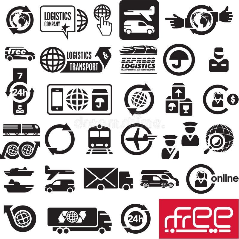 Iconos de la logística stock de ilustración