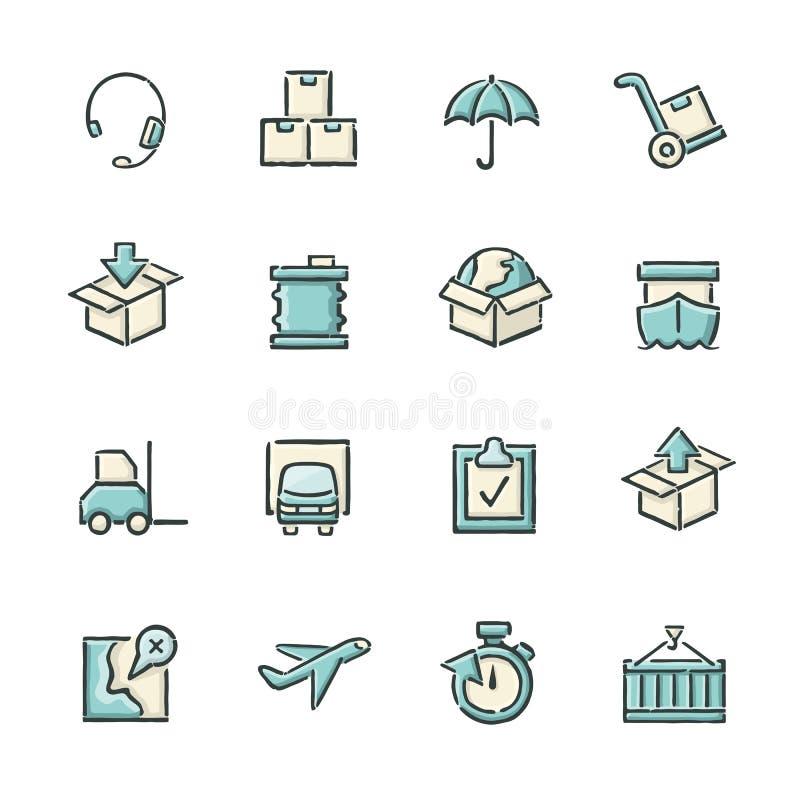 Iconos de la logística ilustración del vector