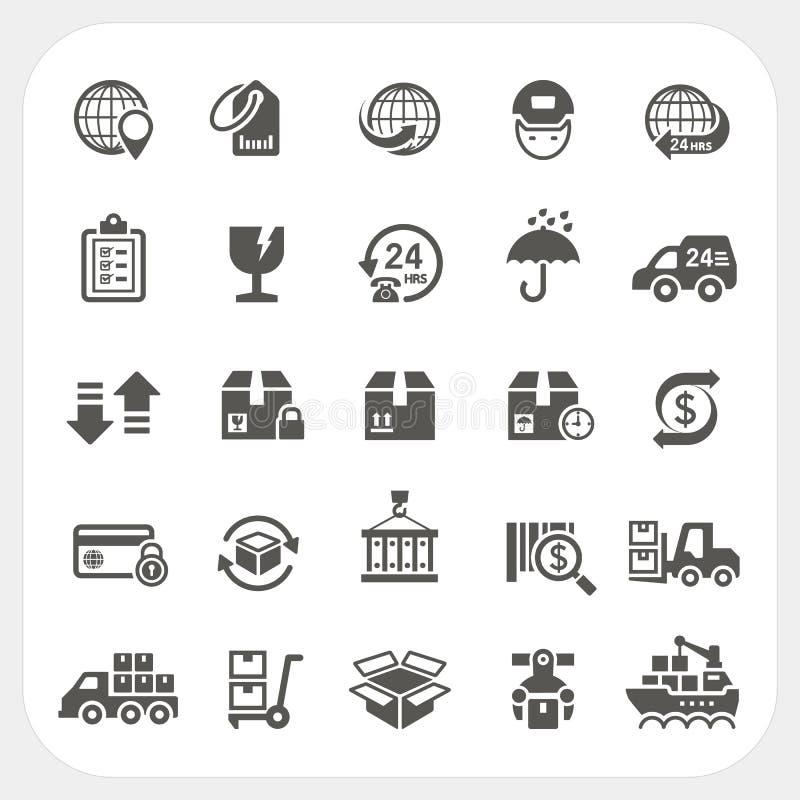 Iconos de la logística y del envío fijados stock de ilustración