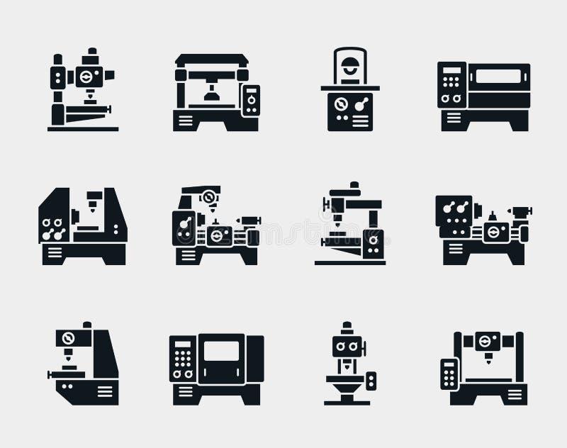 Iconos de la máquina-herramienta del vector fijados ilustración del vector