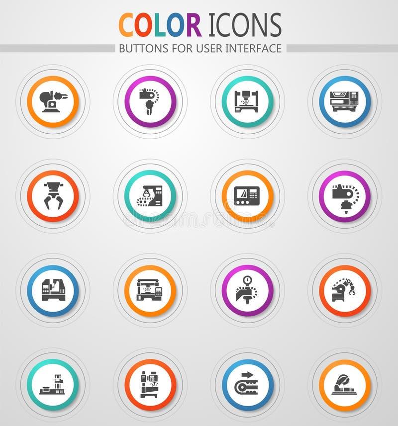 Iconos de la máquina-herramienta fijados libre illustration