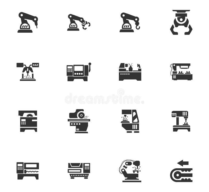 Iconos de la máquina-herramienta fijados stock de ilustración