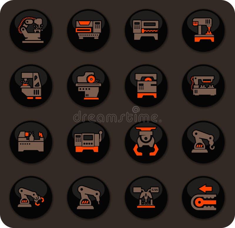 Iconos de la máquina-herramienta fijados ilustración del vector