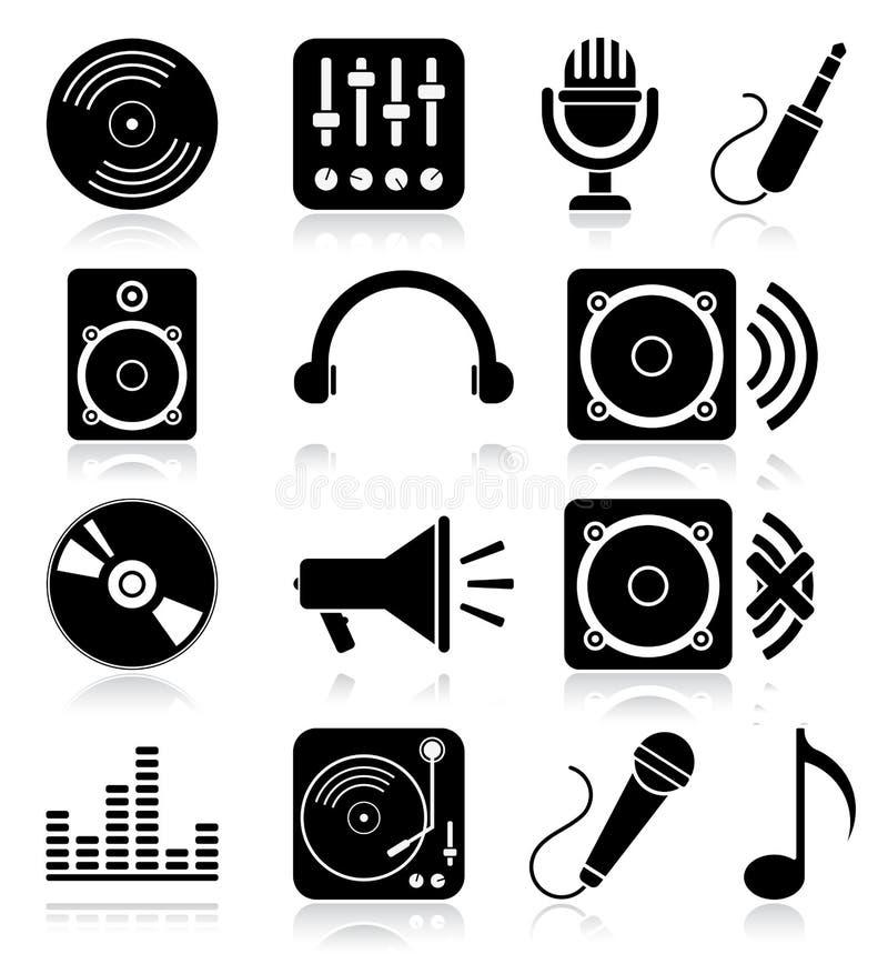 Iconos de la música ilustración del vector