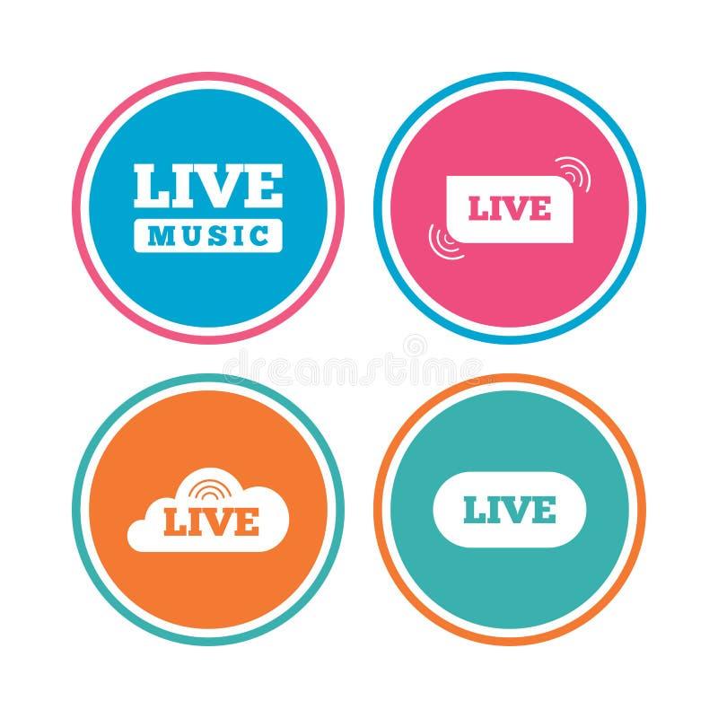 Iconos de la música en directo Karaoke o en corriente de aire stock de ilustración