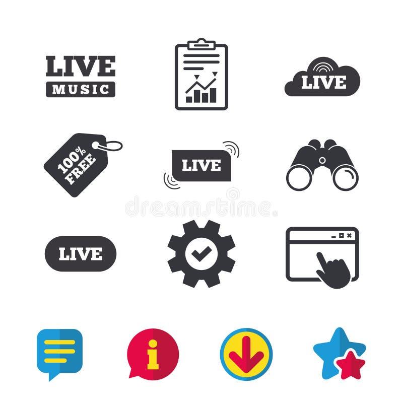 Iconos de la música en directo Karaoke o en corriente de aire ilustración del vector