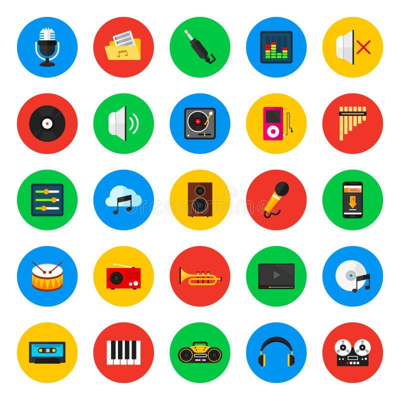 Iconos de la música, instrumentos musicales, dispositivos y accesorios libre illustration