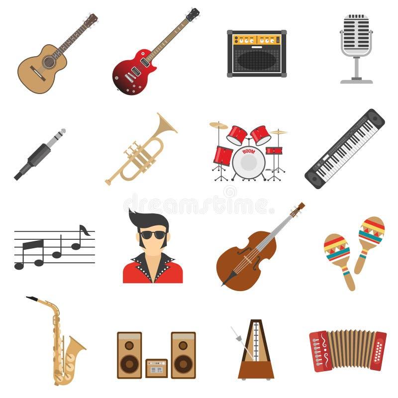 Iconos de la música planos ilustración del vector