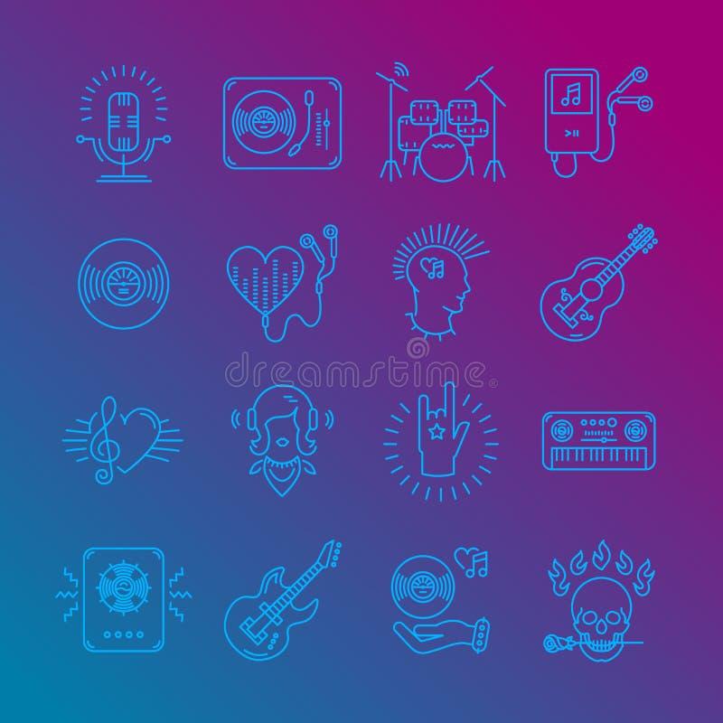Iconos de la música, símbolos de música rock Iconos monocromáticos de la música en un fondo de moda de la pendiente Ilustración d ilustración del vector