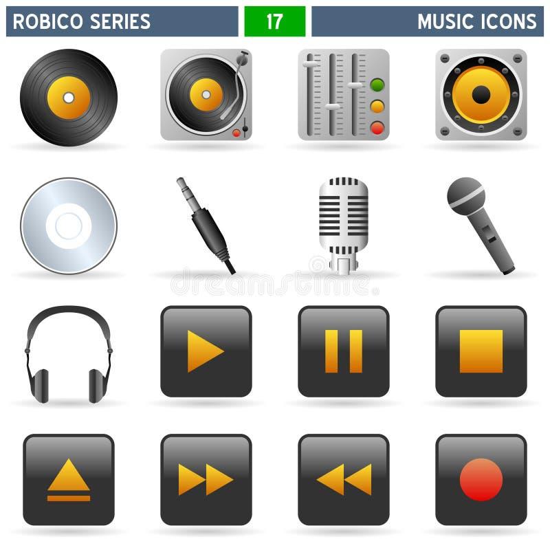 Iconos de la música - serie de Robico stock de ilustración
