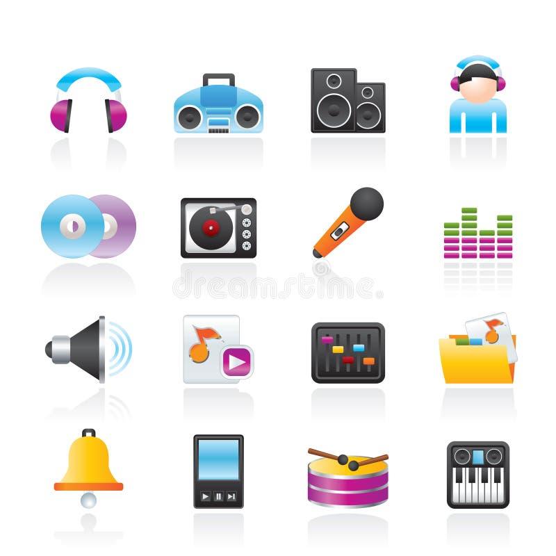 Iconos de la música y del sonido ilustración del vector