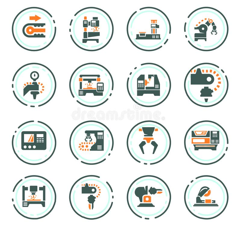 Iconos de la m?quina-herramienta fijados stock de ilustración